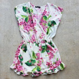 Honey Punch Pink and Green Floral Romper.